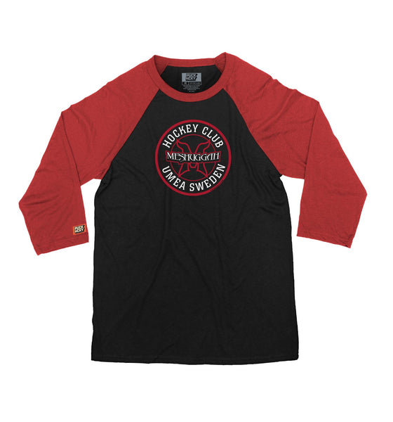 MESHUGGAH 'HOCKEY KLUBB' hockey raglan t-shirt in black with red sleeves