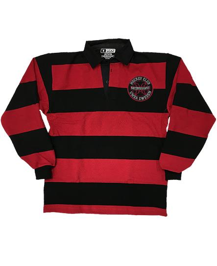 MESHUGGAH 'HOCKEY KLUBB' long sleeve, rugby-style hockey shirt in black and red