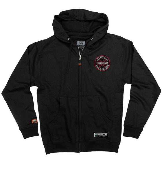 MESHUGGAH 'HOCKEY KLUBB' full zip hockey hoodie in black front view