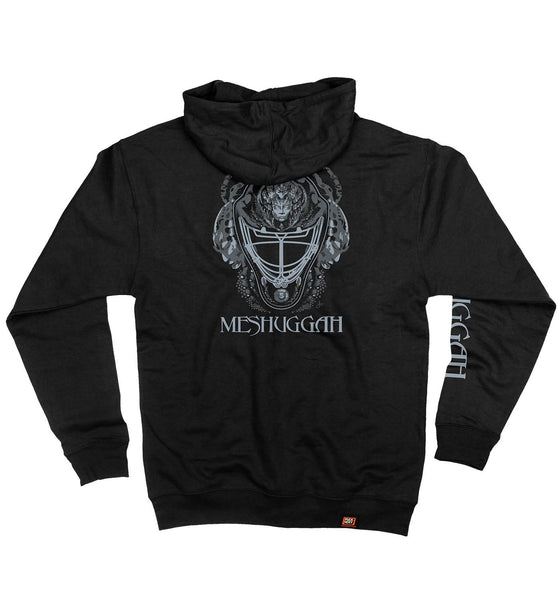 MESHUGGAH 'MASK OF COLOSSUS' full zip hockey hoodie in black back view