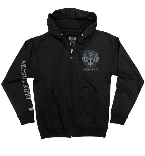 MESHUGGAH 'MASK OF COLOSSUS' full zip hockey hoodie in black front view