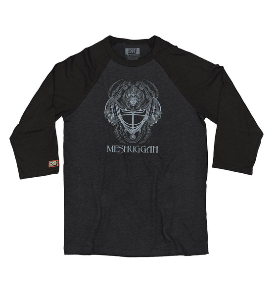 MESHUGGAH 'MASK OF COLOSSUS' hockey raglan t-shirt in heather black with black sleeves