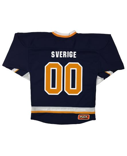 MESHUGGAH 'SVERIGE' hockey jersey in navy, white, and gold back view