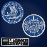 MESHUGGAH 'SVERIGE' hockey jersey in navy, white, and gold patches close-up