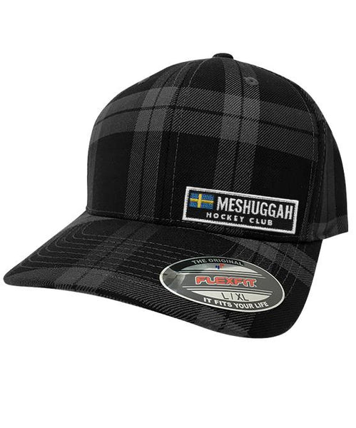MESHUGGAH 'SVERIGE' plaid hockey cap in grey and black plaid