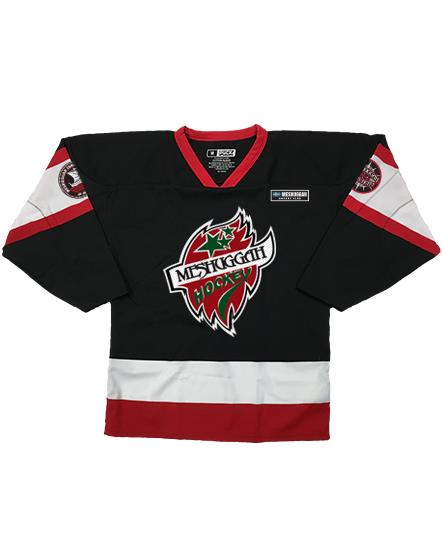 MESHUGGAH 'SWEDISH ELITE' hockey jersey in black, red, and white front view