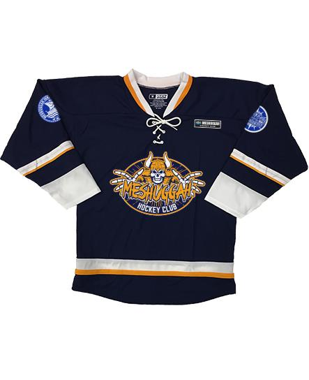 MESHUGGAH 'SVERIGE' hockey jersey in navy, white, and gold front view