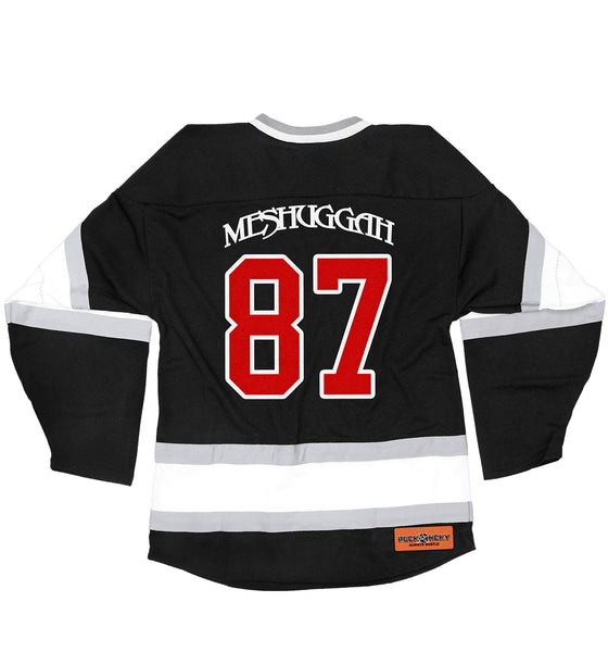 MESHUGGAH 'THIS SPITEFUL SKATE' hockey jersey in black, white, and grey back view