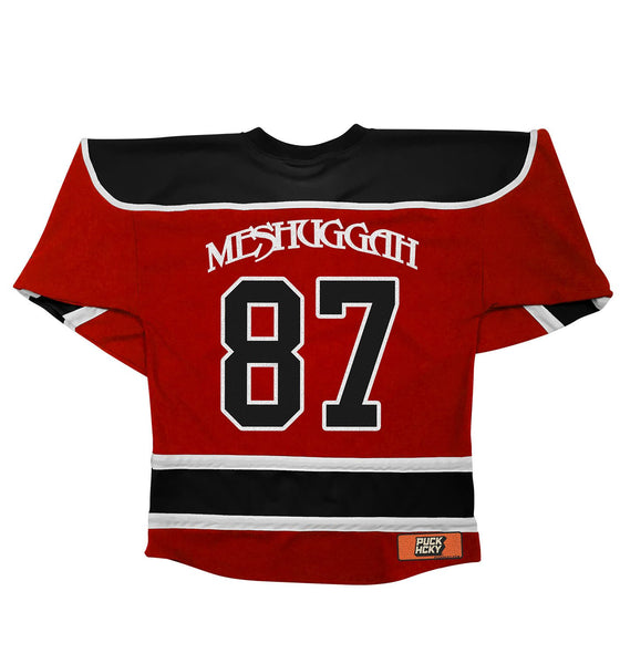 MESHUGGAH 'THIS SPITEFUL SKATE' hockey jersey in red, black, and white back view