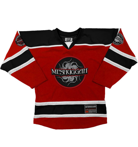 MESHUGGAH 'THIS SPITEFUL SKATE' hockey jersey in red, black, and white front view