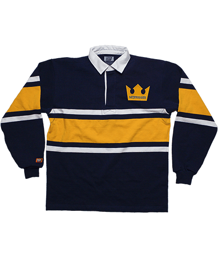 MESHUGGAH 'TRE KRONER' long sleeve, rugby-style hockey shirt in navy, gold, and white