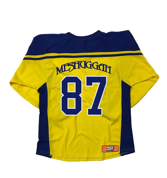 MESHUGGAH 'TRE KRONOR' hockey jersey in maize and royal back view