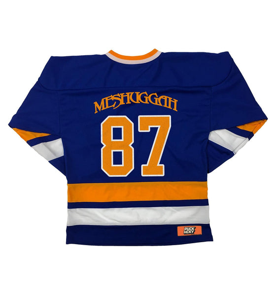 MESHUGGAH 'TRE KRONOR' hockey jersey in royal, gold, and white back view