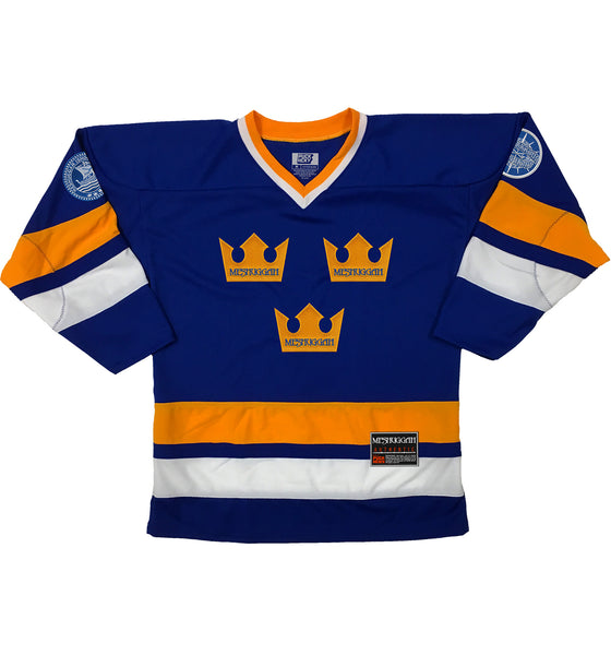 MESHUGGAH 'TRE KRONOR' hockey jersey in royal, gold, and white front view