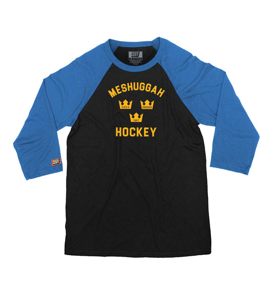 MESHUGGAH 'TRE KRONOR' hockey raglan t-shirt in black with royal sleeves