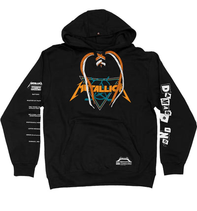 METALLICA 'DAMAGE INC' laced pullover hockey hoodie in black with orange laces with white stripes and white laces with black stripes front view