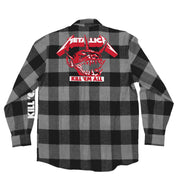 METALLICA 'JUMP IN THE FIRE' hockey flannel in grey plaid back view