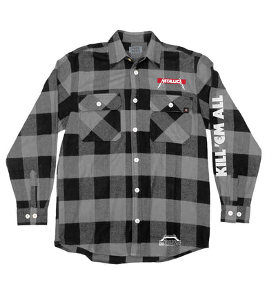 METALLICA 'JUMP IN THE FIRE' hockey flannel in grey plaid front view