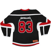 METALLICA 'JUMP IN THE FIRE' hockey jersey in black, white, and red back view