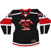 METALLICA 'JUMP IN THE FIRE' hockey jersey in black, white, and red front view