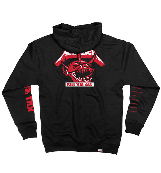METALLICA 'JUMP IN THE FIRE' full zip hockey hoodie in black back view