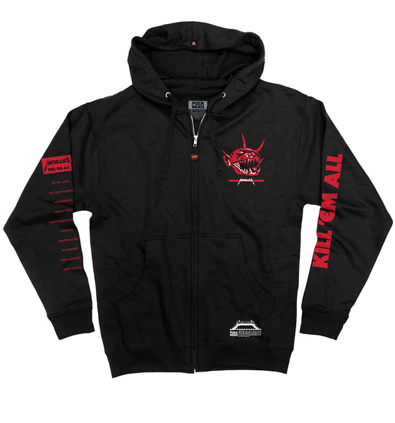 METALLICA 'JUMP IN THE FIRE' full zip hockey hoodie in black front view