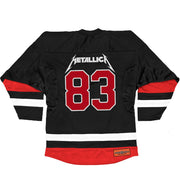 METALLICA 'KILL EM ALL CROSSED HAMMERS' deluxe hockey jersey in black, white, and red back view