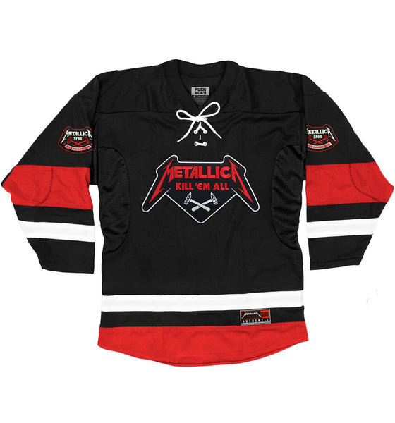 METALLICA 'KILL EM ALL CROSSED HAMMERS' deluxe hockey jersey in black, white, and red front view