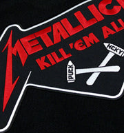 METALLICA 'KILL EM ALL CROSSED HAMMERS' deluxe hockey jersey in black, white, and red close-up