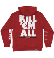 METALLICA 'KILL EM ALL' laced pullover hockey hoodie in red with black laces with white stripes and white laces with black stripes back view