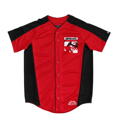METALLICA 'KILL EM ALL' short sleeve spring league jersey in red and black front view