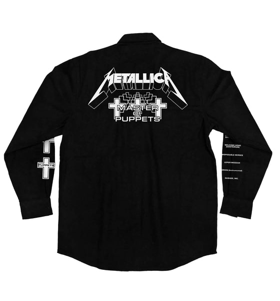 METALLICA 'MASTER OF PUPPETS' hockey flannel in solid black back view