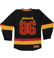 METALLICA 'MASTER OF PUPPETS' deluxe hockey jersey in black, red, and gold back view