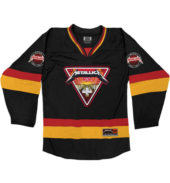 METALLICA 'MASTER OF PUPPETS' deluxe hockey jersey in black, red, and gold front view
