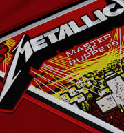 METALLICA 'MASTER OF PUPPETS' deluxe hockey jersey in red, white, and black close-up