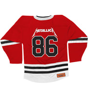 METALLICA 'MASTER OF PUPPETS' deluxe hockey jersey in red, white, and black back view