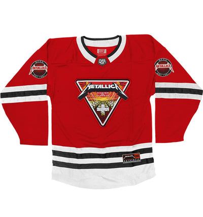 METALLICA 'MASTER OF PUPPETS' deluxe hockey jersey in red, white, and black front view
