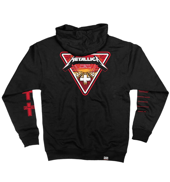 METALLICA 'MASTER OF PUPPETS' full zip hockey hoodie in black back view