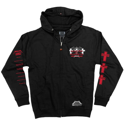 METALLICA 'MASTER OF PUPPETS' full zip hockey hoodie in black front view