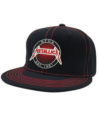 METALLICA 'OFFICIAL PUCK' contrast stitch snapback hockey cap in black with red stitching