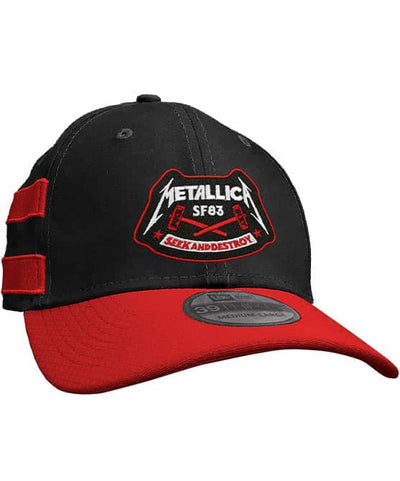 METALLICA 'SEEK AND DESTROY' stretch fit hockey cap in black with red brim and stripes