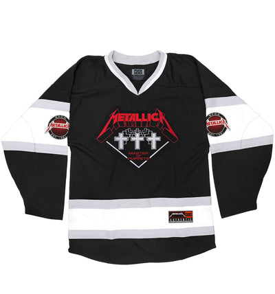 METALLICA 'SNIPER MESSIAH' deluxe hockey jersey in black, white, grey front view