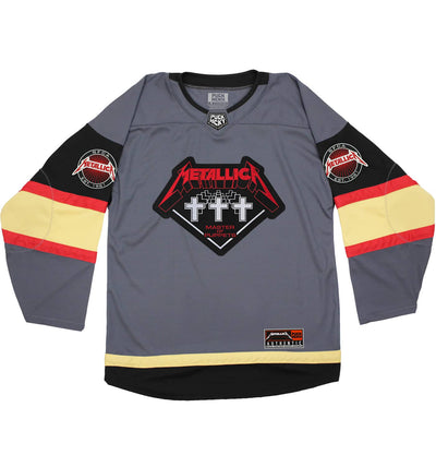 METALLICA 'SNIPER MESSIAH' deluxe hockey jersey in grey, black, nugget gold, and red front view