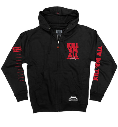 METALLICA 'STOP EM ALL' full zip hockey hoodie in black front view