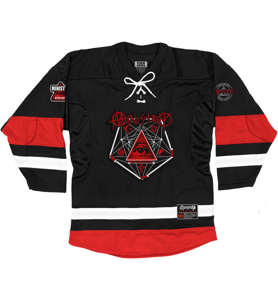 MINISTRY 'PENTA-PUCK' deluxe hockey jersey in black, red, and white front view