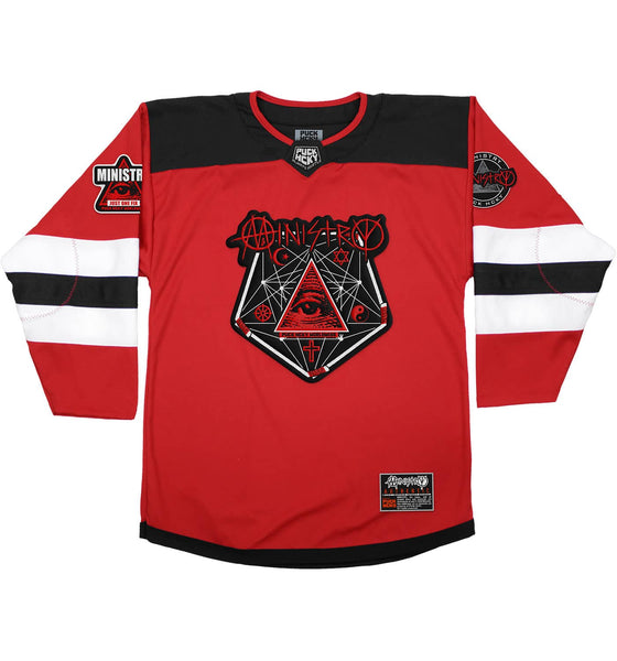 MINISTRY 'PENTA-PUCK' deluxe hockey jersey in red, black, and white front view
