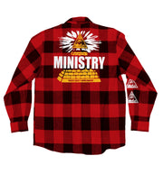 MINISTRY 'PYRAMID 81' hockey flannel in red plaid back view