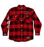 MINISTRY 'PYRAMID 81' hockey flannel in red plaid front view