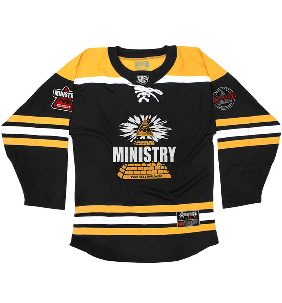 MINISTRY 'PYRAMID 81' hockey jersey in black, gold, and white front view