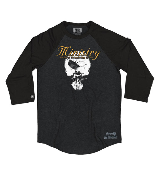 MINISTRY 'TERRIBLE THING TO TASTE' hockey raglan in black heather with black sleeves